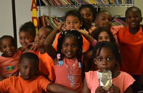 A few of our first grade children on Orange Day.
