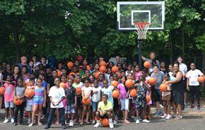 Basketball clinic at the Ryan Outreach Summer Camp.