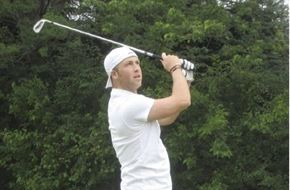 Brett showing off his golf pose