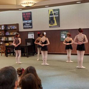 "Community outreach at Barnes and Noble performing an original ballet by JoJean Retrum based upon the book ""Brave Ballerina""."